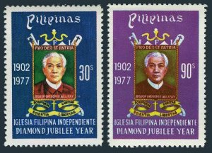 Philippines 1335-1336,MNH.Michel 1205-1206. Aglipayan Church.Bishop G.Aglipay.