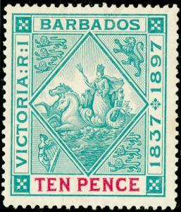 BARBADOS SG123, 10d blue-green & carmine, LH MINT. Cat £70.