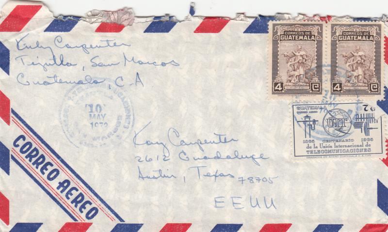 Guatemala 386 / C425 Used On Airmail Cover