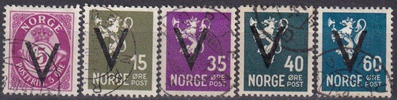 Norway #210, 214, 216-7, 219   F-VF Used CV $18.25 (Z4563)
