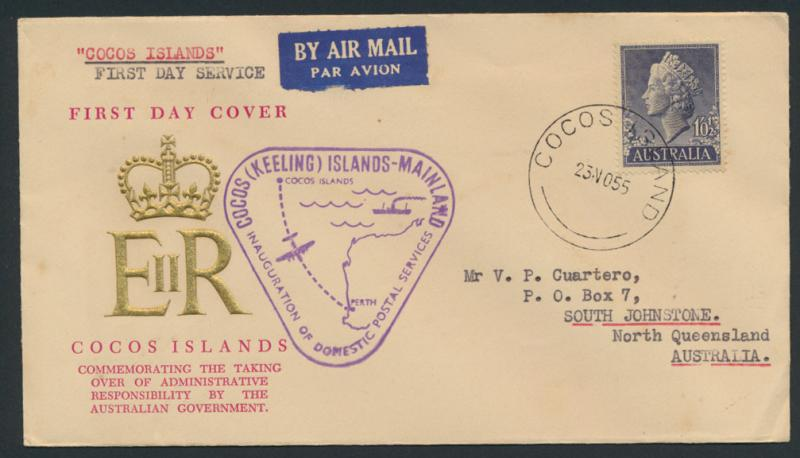 1955 First Day Cover - Cocos - Perth  AAMC 1354 SPECIAL - please read details...
