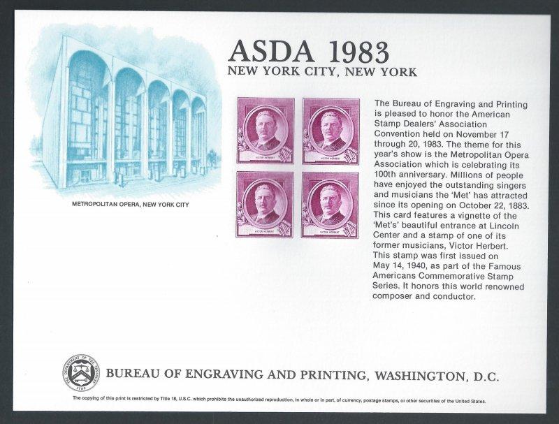 U.S. #SC90 NH ASDA '83 Souvenir Card