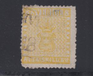 Sweden Sc 4b used. 1856 8s lemon yellow Coat of Arms, scarce.