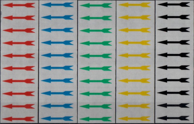 M084 - 50 assorted Arrows, 5 colours, for Indentifing Faults etc on stamps