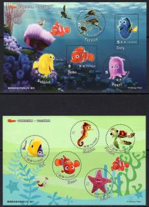 Taiwan 2008 Disney Animation Cartoon Nemo Fish 2 Souvenir Sheets MNH