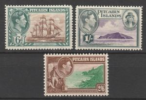 PITCAIRN ISLANDS 1940 KGVI PICTORIAL 6D 1/- AND 2/6