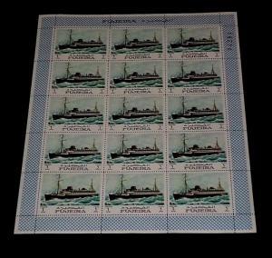 1968, FUJEIRA, SAILING SHIPS, WAR SHIPS, SHEET OF 15, LOT #1, MNH, NICE! LQQK!
