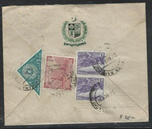 PAKISTAN (P0209B) 1961 MINISTRY FOR AFF 1P TRIANGLE+12A+1PX2 TO SWITZERLAND