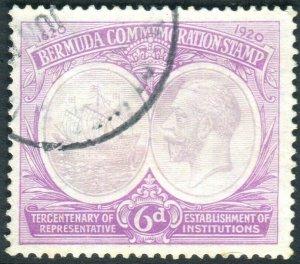BERMUDA-1921 Tercentenary 6f Dull & Bright Purple.  A fine used example Sg 67