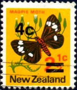 Magpie Moth, New Zealand stamp SC#480 Used