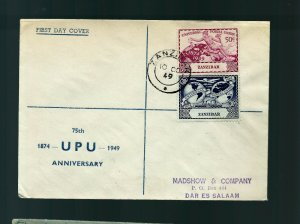 V. Rare Oman Zanzibar 1949 à Tanzanie 1er Jour Housse Unique Destination