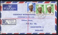 Sierra Leone 1973 registered commercial air mail cover to...