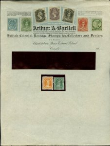 Arthur Bartlett Letterhead Retail $100, with 2c & 5c New Brunswick used