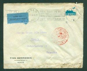 Norway. 1934. Airmail 45 Ore Sc.# C1. With. Railway Slogan Cancel. Adr: Austria