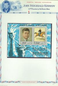 SHARJAH   MEMORIAL TRIBUTE TO J.F. KENNEDY AMERICAN ARTISTS  SET & S/S
