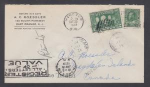 Canada Sc 128,142 on 1927 First Flight cover, MONCTON-GRINDSTONE ISLAND