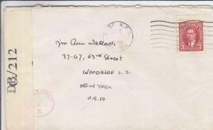 1942, Canadian Refugee Camp 42, Sherbrooke to Woodside, NY, Censored (C3229)