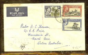 GILBERT AND ELLICE ISLANDS (P1106B) 1955 KGVI REG FROM TARAWA TO WEST AUSTRALIA