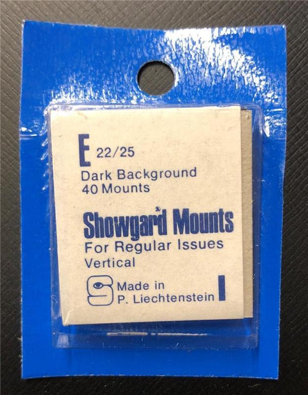 Stamp Mounts Supplies Showgard New 40 mounts 22mm by 25mm Black back Precut