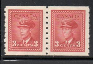 Canada Sc 265 1942 3 c dark carime G VI coil stamp pair mint NH