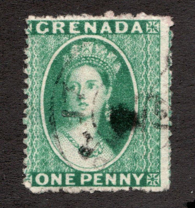 Sc 6 - Grenada - 1873 - One Penny - QV -  Used F/VF -  superfleas - cv$22.50