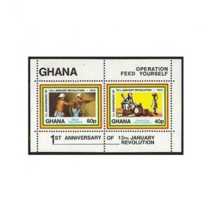 Ghana 478 sheet, MNH. Michel Bl.49. Revolution, Feed Yourself, 1973.
