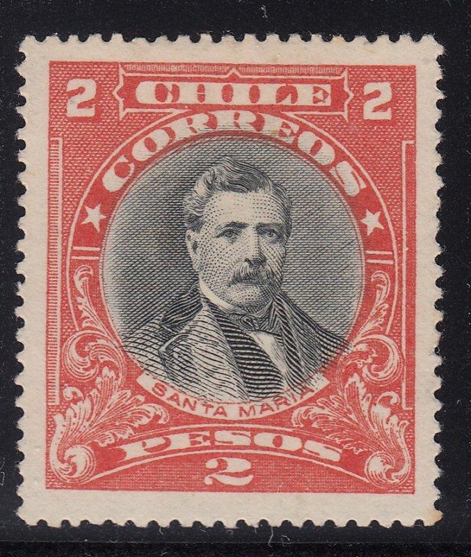 Chile 1915-25 2p Red & Black LM Mint. Scott 139
