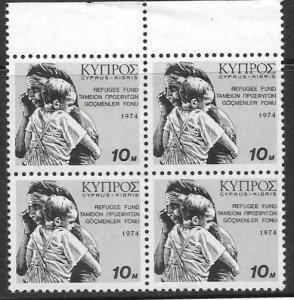 CYPRUS SG435 1974 REFUGEE FUND 10M BLOCK OF 4 MNH