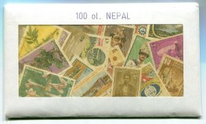 NEPAL 100 DIFFERENT STAMPS IN OLD STYLE SALES PACKAGE
