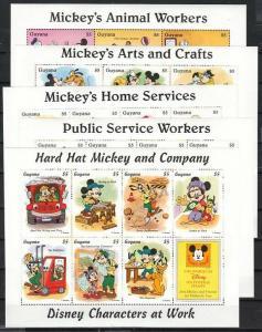 Guyana, Disney Characters at Work on 5 sheets.