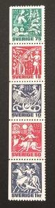 Sweden 1981 #1346-50 Booklet Pane/Strip of 5, Mythological, MNH