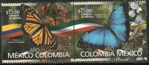 MEXICO 3105a, MEXICO-COLOMBIA YEAR, BUTTERFLIES. SE-TENANT PAIR. MINT, NH. VF.