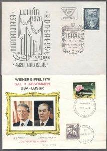 AUSTRIA: 1978 & 1979 FDC's w/Cachets; Lehar, Carter-Breshnev