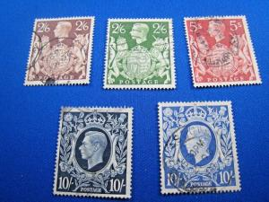 GREAT BRITAIN - SCOTT # 249-251A  -  Complete Used Set