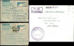 Burma 1952 1953 2 Airletters Burma Postage 6A & 1961 Airmail Rangoon Book Post