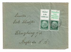 Germany 1930s Zusammendrucke Cover w/ 2 x 6pf Hindenburg w/ Labels - Z644