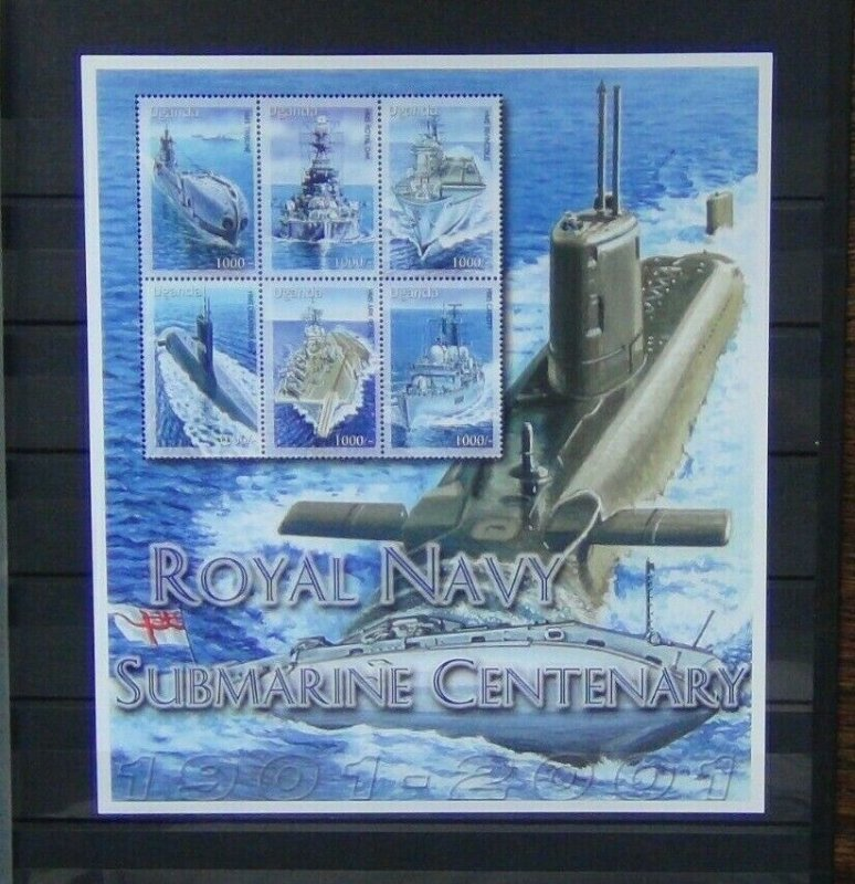 Uganda 2001 Centenary of Royal Navy Submarine Service Sheet MM