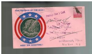 1944 USA Patriotic Cover Stamford CT Postage Due For Freedom of the Seas US Navy