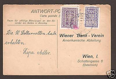 Austria Sc 280, 281 perfin WB/V used on 1925 Response Post Card