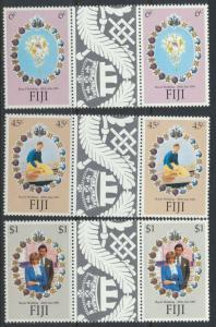 Fiji SG 612-614 SC# 442-444 MNH Royal Wedding Gutter Pairs see scan
