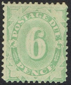 AUSTRALIA 1907 POSTAGE DUE 6D WMK CROWN/DOUBLE LINED A