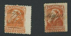 2x Canada Used Revenue Bill Stamps #FB42-5c L.R.M. & FB44-7c Imperf at Right