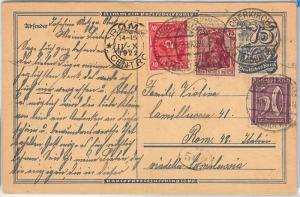 GERMANY -  POSTAL HISTORY - POSTAL STATIONERY CARD with added stamps - NICE! 192