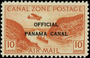 CANAL ZONE #CO2 1941 OFFICIAL CANAL ZONE OVERPRINT ON 10c AIR MAIL ISSUE-MINT/H