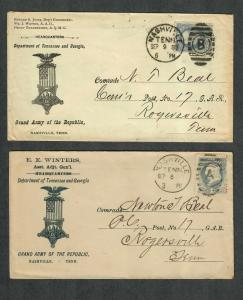 US Sc#206 Nashville Tenn Adv Covers Dept Of Tennessee And Georgia