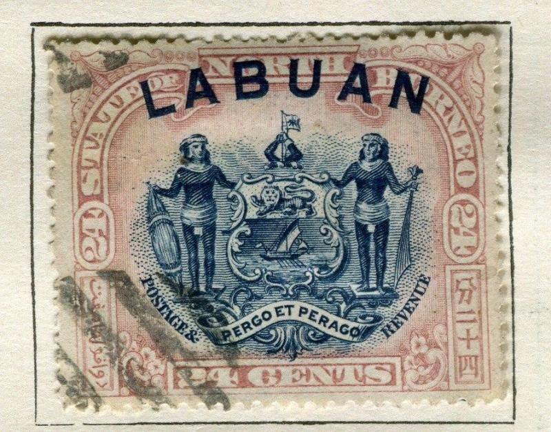 NORTH BORNEO LABUAN;  1897 early classic Pictorial issue 24c. used value