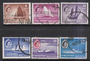 Singapore 1955 Sc 30//39 QEII Used