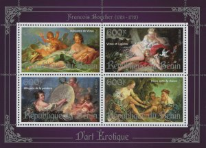 Erotic Art Francois Boucher Souvenir Sheet of 4 Stamps Mint NH