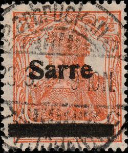 SARRE / SAARGEBIET - 1920  Saarbrücken 3 / * (St. Johann) c on Mi.5c.I 7-1/2pf
