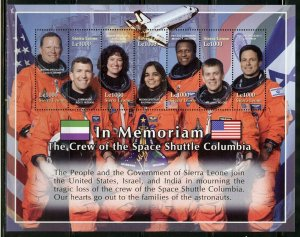 Sierra Leone MNH S/S In Memoriam Crew Space Shuttle Columbia 7 Stamps Large Size